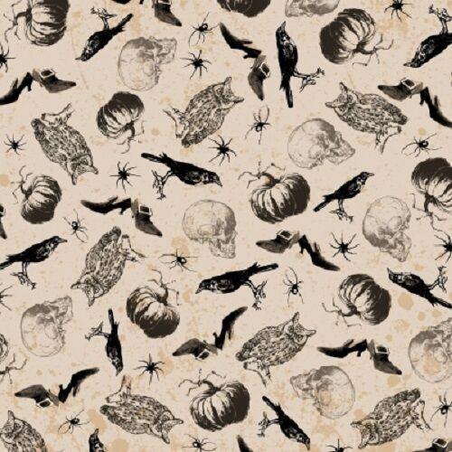 SPOOKY RAVENS SPIDERS SKULLS OWLS PUMPKINS HALLOWEEN FABRIC