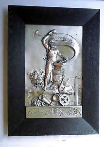 Nett Wunderbares Metallbild Mit Motiv Industrie Schmied Mit Hammer Um 1930 112471 Antike Originale Vor 1945