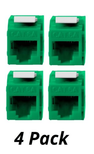 4x Keystone Jack Cat6A RJ45 Ethernet Network Module Toolfree 180 Degree Green