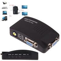 RCA Composite AV S-Video to VGA Converter Adapter Box OSD DVD DVR VCR Monitor