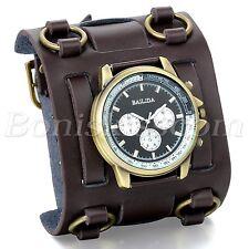 Mens Wide Brown Leather Strap Buckle Sport Analog Quartz Wrist Watch Bangle Cuff