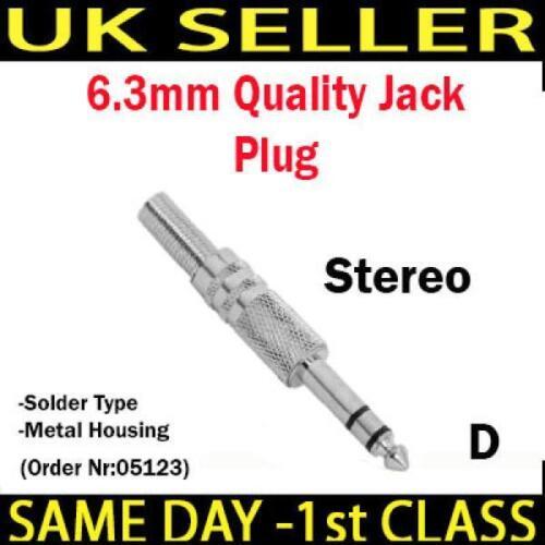 Remplacement 6.3mm 3.5mm mono stéréo métal plaqué or jack rca connecteur