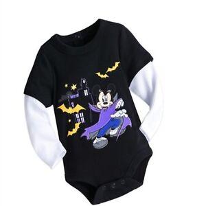 Disney-Store-Mickey-Mouse-Haunted-Mansion-Boys-Baby-Bodysuit-Black-Halloween-NEW