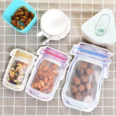 Mason Jar Zipper Bag Airtight Reusable Snack Bags Food Saver Storage Bag S//M//L