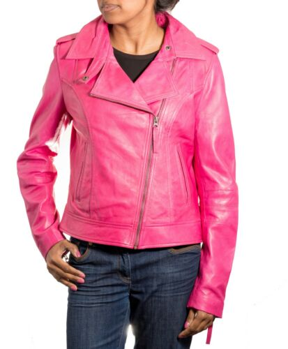Womens Pink Brando Style Smart Short Biker Real Leather Jacket with Side Zip