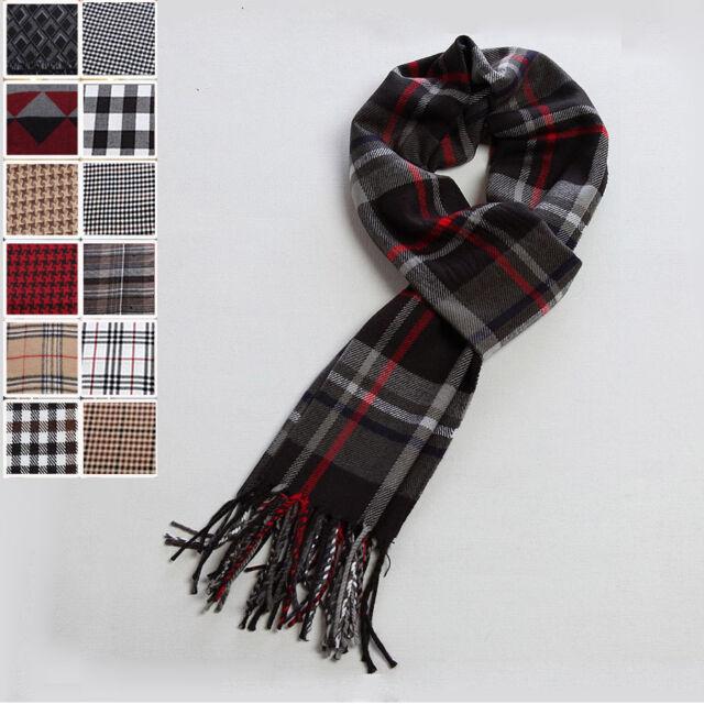 Men Unisex Warm Winter Classic Stripe Plaid Tassel Acrylic Long Scarf Shawl Wrap