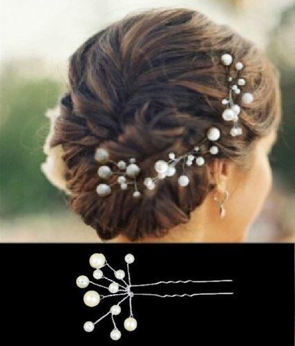 Set 5 Haarnadeln Perlen Fecher Hochzeit Tiara Diadem IVORY Braut Haarschmuck NEU