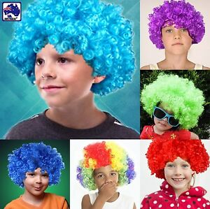Kids Afro Curly Wigs Clown Fancy Dress Party Wig Rainbow Purple Blue ... e12f5bf3c673