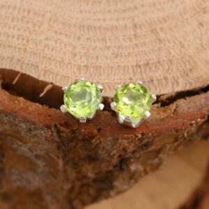 925-sterling-Silver-Large-6mm-Round-Faceted-Green-Natural-Peridot-Stud-Earrings