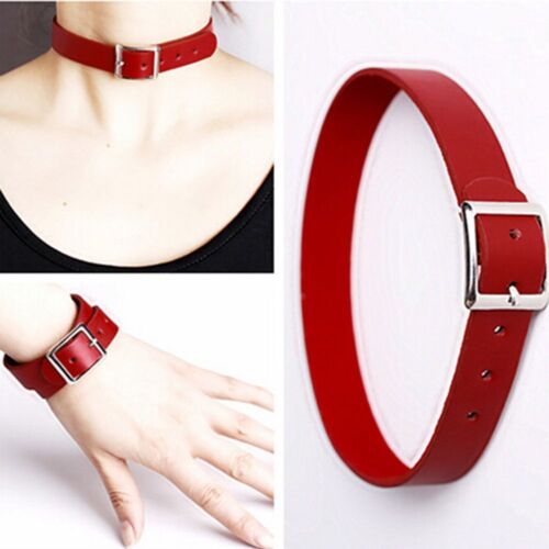 Chain Gothic Collar Necklace Bracelet Leather Buckle Choker