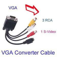 VGA to TV SV 3 RCA Jack Composite AV Cable/Lead Adapter