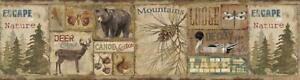 Wallpaper Border Attitash Deer Camp Lodge, Bear, Deer, Pine Tree, Pinecone