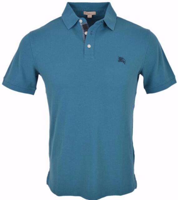 0a9bfd30409d New Burberry Brit Men's Petrol Blue Cotton Nova Check Placket Polo Shirt  Small