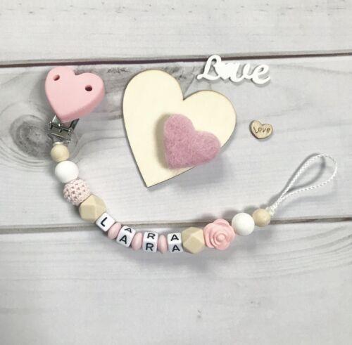 Cadena para chupete schnullerband nuckelkette con nombres beige rosa blanco de silicona