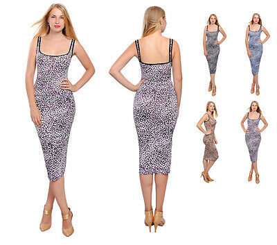 WOMEN'S LEOPARD BODYCON MIDI SLIP DRESS SLIM FIT STRAPPY DRESSES 4 CURVY THICK