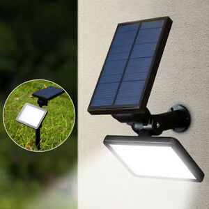 48-LED-Exterior-Solar-Energia-Foco-Lampara-Pared-Paisaje-Jardin-Patio-Luz-Blanco
