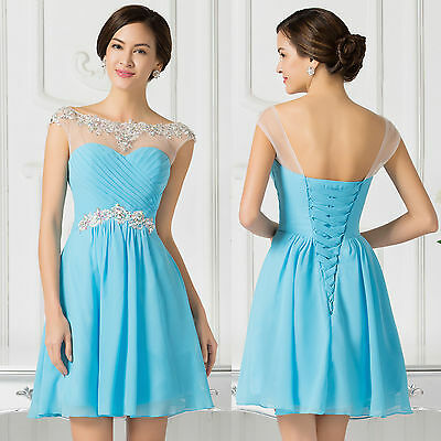 Plus Size Beaded Short Evening Prom Party Graduation Bridesmaid Formal Dresses