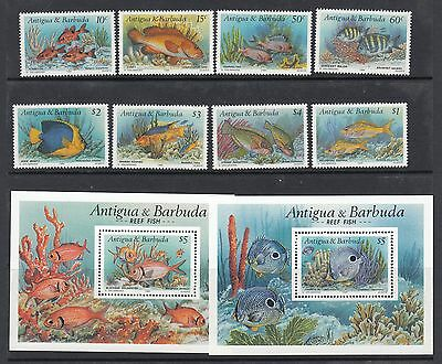 Antigua & Barbuda:1990 Reef Fishes Set+ms 2 Sg1386-93+ms1394 N.h.mint Sufficient Supply
