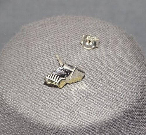 Herren Ohrstecker Einzel Ohrring 925 Sterling Silber Truck LKW bicolor Etui