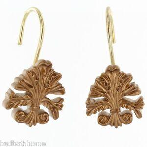 Fleur dis lis resin shower curtain hooks set of 12 color gold php fl