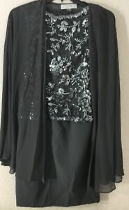 Tahari-Arthur-S-Levine-2-Pc-Sequin-Sheath-Sleeveless-Dress-w-Cape-Jacket-Sz-8