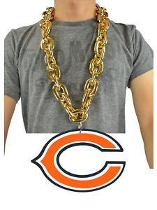 New-NFL-Chicago-Bears-GOLD-Fan-Chain-Necklace-Foam-Magnet-2-in-1