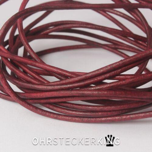 Cintas de cuero calidad de cuero teñido Ø 2 mm con wischtechnik teñidos