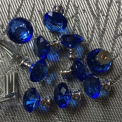 10pcs Crystal Blue Cabinet Knob Drawer, Blue Kitchen Cabinet Knobs