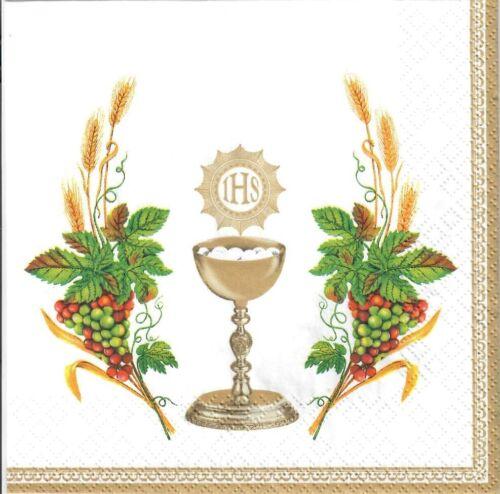 flowers -K19 4single paper decoupage napkins IHS Komunia First communion