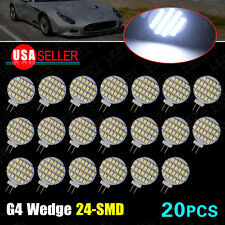 20 X Pure White G4 Disc 24 SMD LED RV Marine Boat Camper Light Bulb Lamp DC 12V
