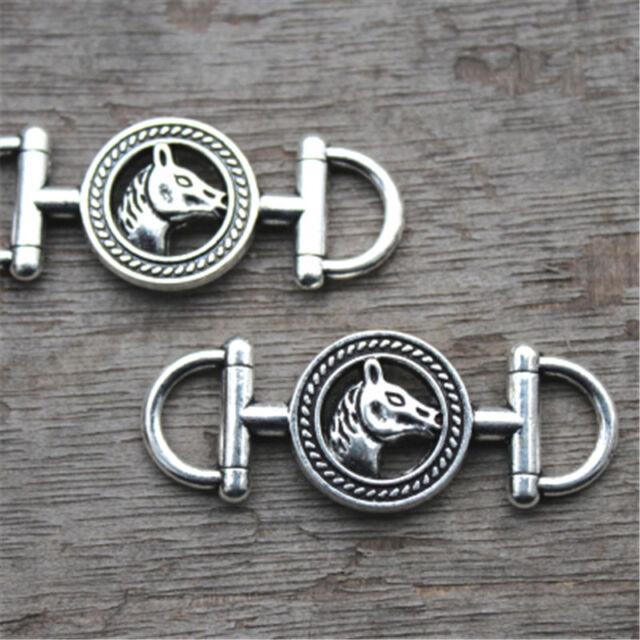6pcs Carousel Horse Charms Silver Tone Huge Unicorn Trojan Horse 45x43mm
