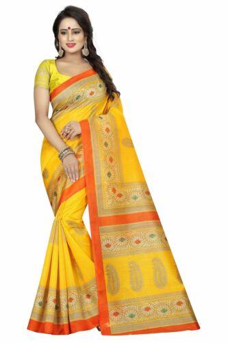 Indian Women/'s Bhagalpuri Silk Saree Designer Print Work Wedding Party Wear Sari