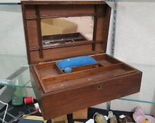 1890 era walnut jewelry box /  original mirror lock & key / primitive lid crack