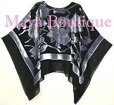 Maya Matazaro Layered Poncho Top Silk Burnout Velvet & Chiffon Silver Black