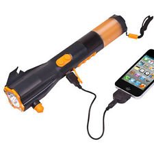 NEW 9 in 1 Hand-Crank Powered Dynamo LED Flashlight W/ Radio and Phone Charger
