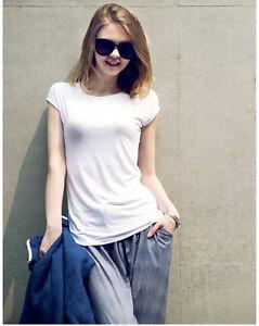 Womens-Plain-T-Shirt-100-Cotton-Ladies-Top-Short-Sleeve-Round-Neck-Plus-Size