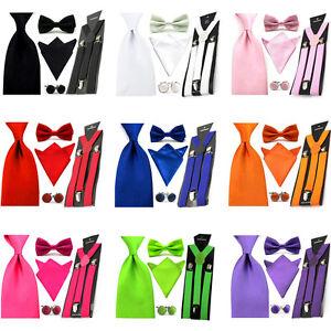 Men-Solid-Satin-Bowtie-8cm-Necktie-Pocket-Square-Hanky-Suspender-Cufflinks-Set