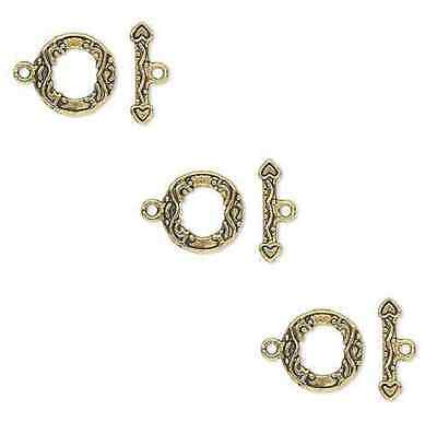 8814FX  Toggle Clasp, Antiqued Gold ptd Pewter, 13mm, 10 sets
