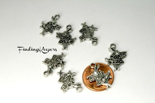 10 Rabbit Charms Double Sided Antiqued Silver 20 x 15 mm US Seller 117