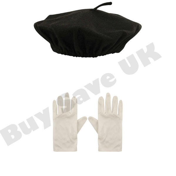 CHILDRENS KIDS BERET HAT & WHITE GLOVES FRENCH BOYS GIRLS FANCY DRESS COSTUME