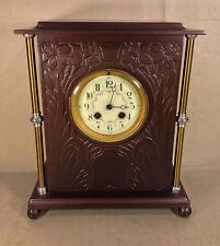 Antique Vincenti French Mantel Clock Porcelain Face Bronze Case Runs & Strikes