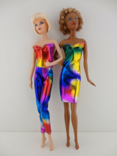 A Set of 2 Metallic Rainbow Outfits Made to Fit the Barbie Doll