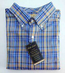 NWT-Gold-Label-Roundtree-amp-Yorke-Blue-Gold-Check-Men-039-s-Shirt-Big-Tall-Many-Sizes