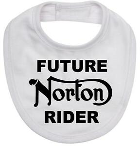 BABY BIB white cotton printed with FUTURE NORTON RIDER on  Baby Bib