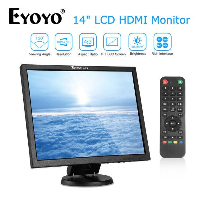 14 Inch HDMI LCD Monitor VGA BNC AV USB Input Gaming Security For Laptop PC CCD