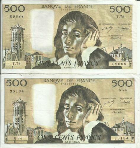 FRANCE 500 FRANCS 1979  PASCAL P 156 ONE NOTE VF CONDITION 3RW 26AGOST