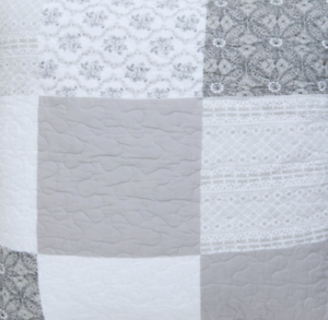 SALE-Quilt-Patchwork-Q162-059-140-x-220-cm-Uberwurf-Tagesdecke-weiss-grau-taupe