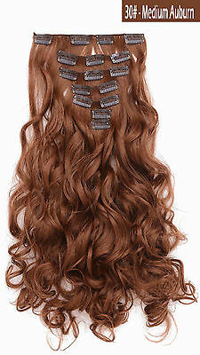 """OneDor 20"""" Curly Full Head Synthetic Clip in Hair Extensions Hairpieces 7 Pcs"""