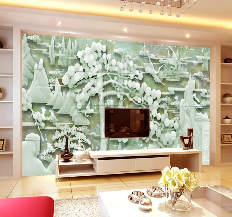 3D Grün Jade Forest Paper Wall Print Decal Wall Wall Murals AJ WALLPAPER GB