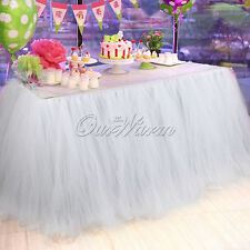 1PC 100x80CM Tulle Tutu Table Skirt Cloth For Wedding Party Birthday Decor White